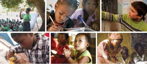 Six different images include: a women instructing a class outdoors, a young child writing on paper, a student pointing to a chalkboard, a young boy inspects an item in his hands, a young child claps, a women works with two children on an assignment.
