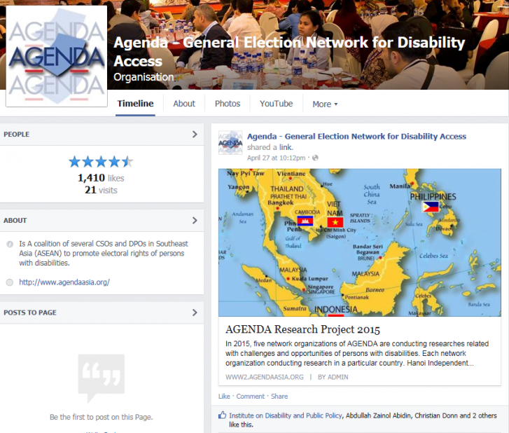 A screenshot of a Facebook page. At the top is a header with the organization's logo and a large photo of one of its recent conferences. Beneath the header is a graphic and a post sharing news about AGENDA's upcoming research project in 2015.