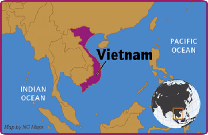 Vietnam is shown on a map of the region and is a coastal country located between the Pacific and Indian Oceans