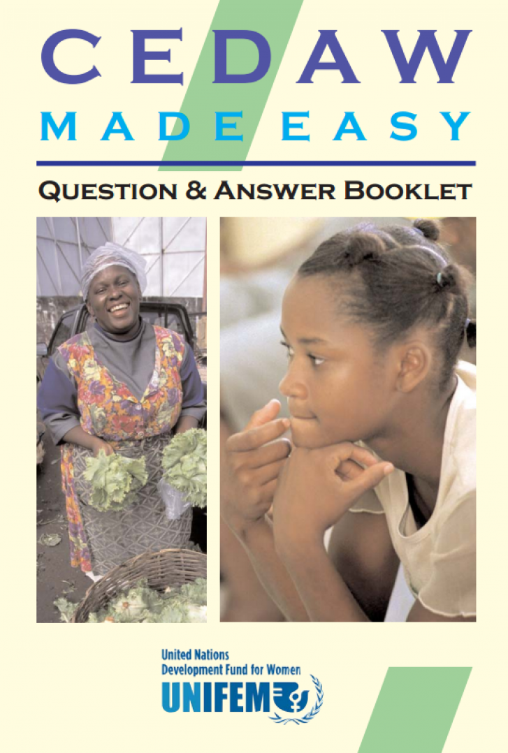 Image shows the cover of CEDAW Made Easy: Questions & Answers Booklet which contains a picture of a woman with a large basket of lettuce in front of her and with lettuce leaves in her hands. A second picture shows a young woman in a white shirt looking thoughtful.