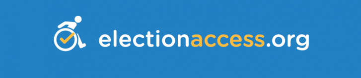 Logo of ElectionAccess.org - an icon shows a person in a wheelchair leaning forward, with a checkmark in the center of the wheel